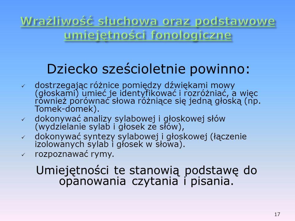 Wrażliwość słuchowa oraz podstawowe umiejętności fonologiczne