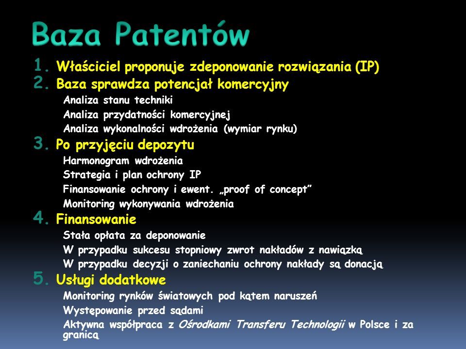 Baza Patentów Właściciel proponuje zdeponowanie rozwiązania (IP)