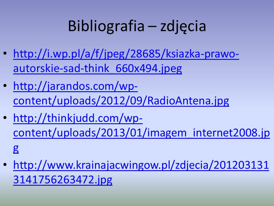 Bibliografia – zdjęcia