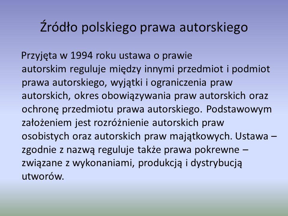 Źródło polskiego prawa autorskiego