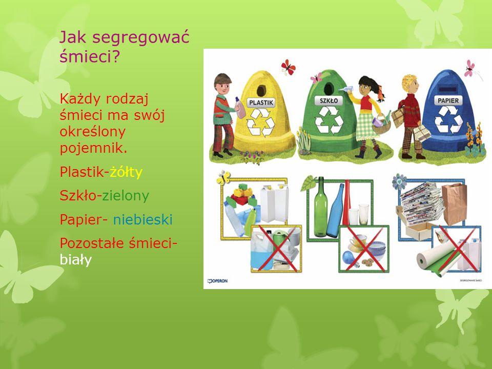 Jak segregować śmieci Każdy rodzaj śmieci ma swój określony pojemnik.