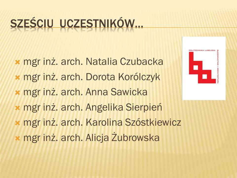SZEŚCIU uczestniKÓW… mgr inż. arch. Natalia Czubacka