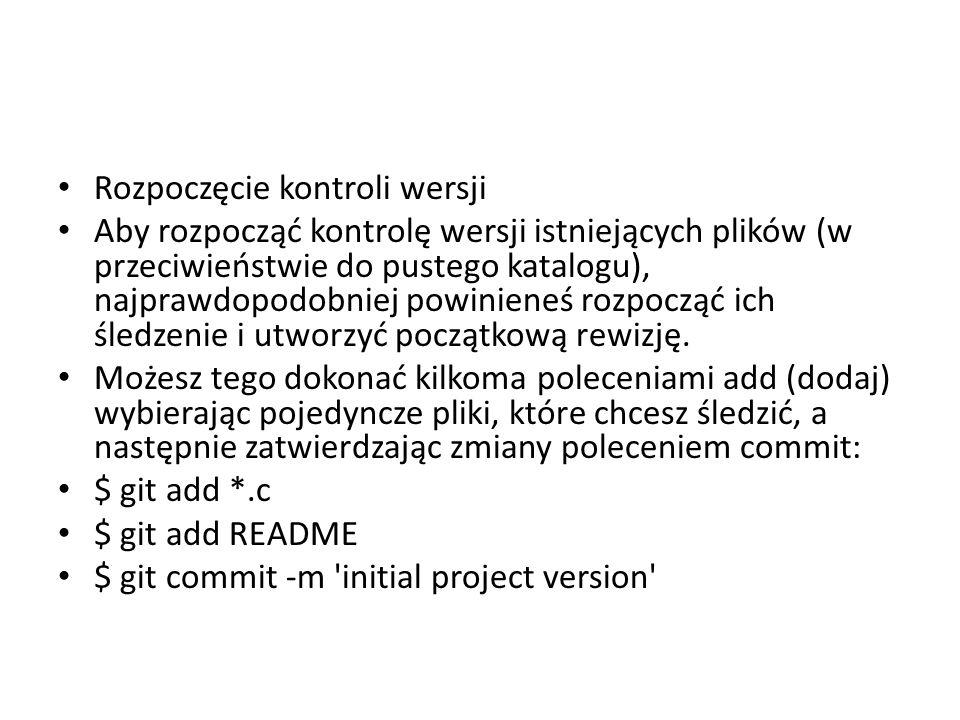 Rozpoczęcie kontroli wersji