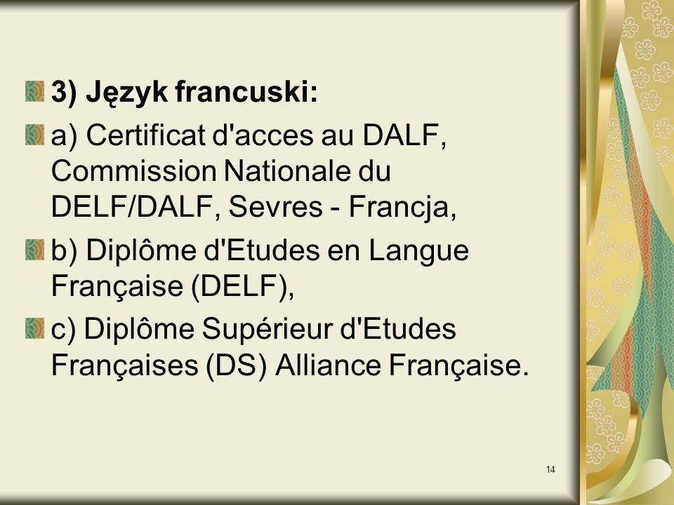 3) Język francuski: a) Certificat d acces au DALF, Commission Nationale du DELF/DALF, Sevres - Francja,