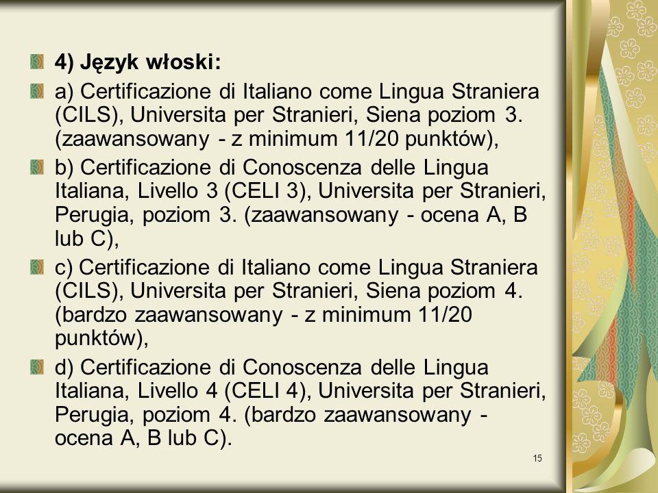 4) Język włoski: