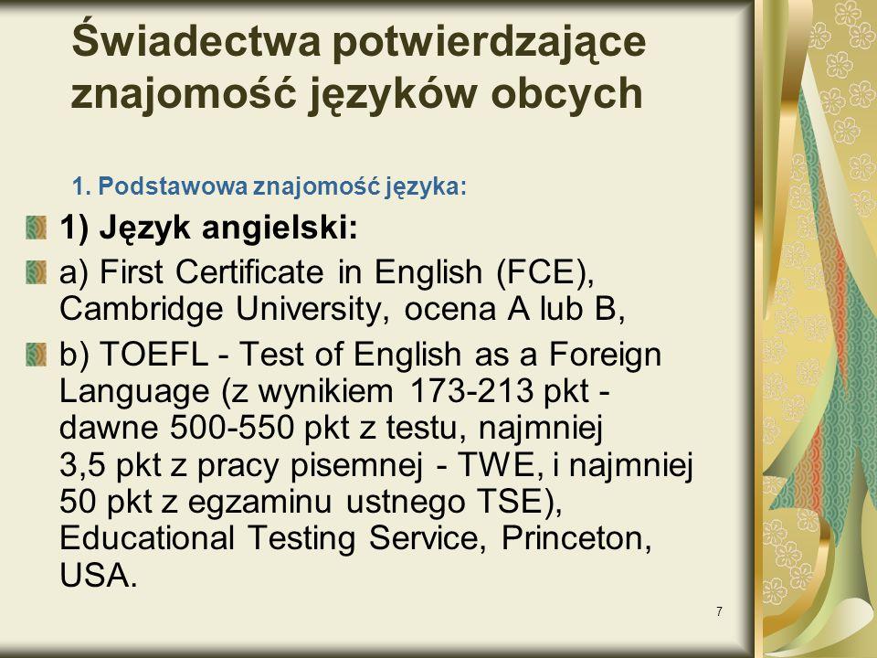 Świadectwa potwierdzające znajomość języków obcych 1