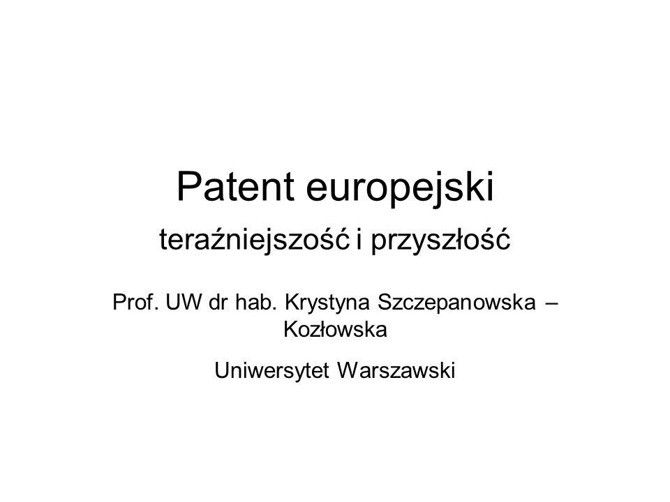 Patent europejski teraźniejszość i przyszłość