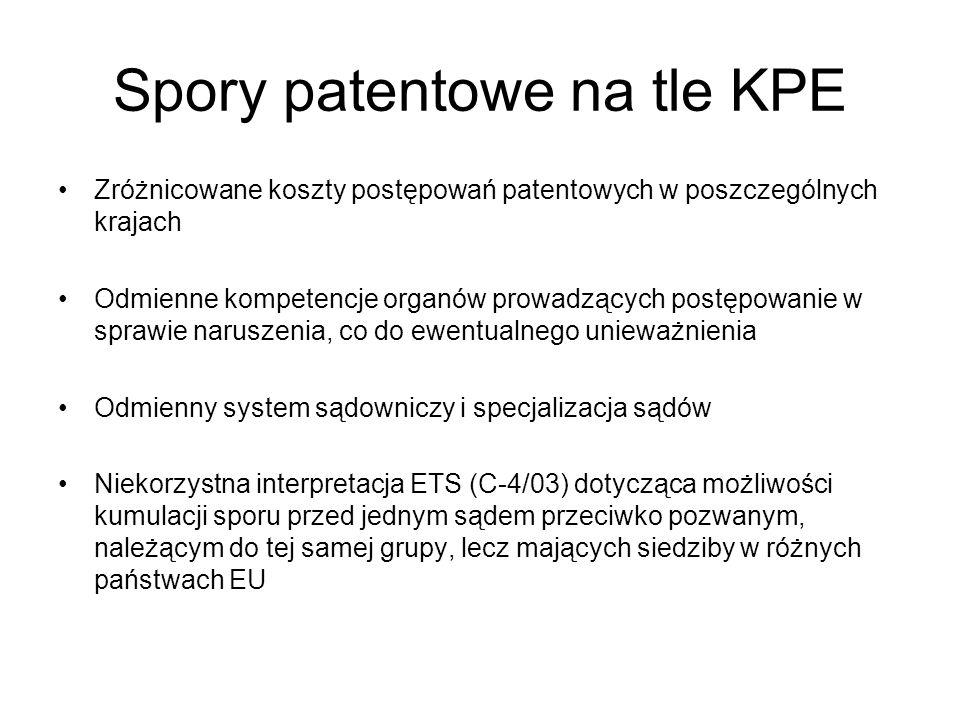 Spory patentowe na tle KPE