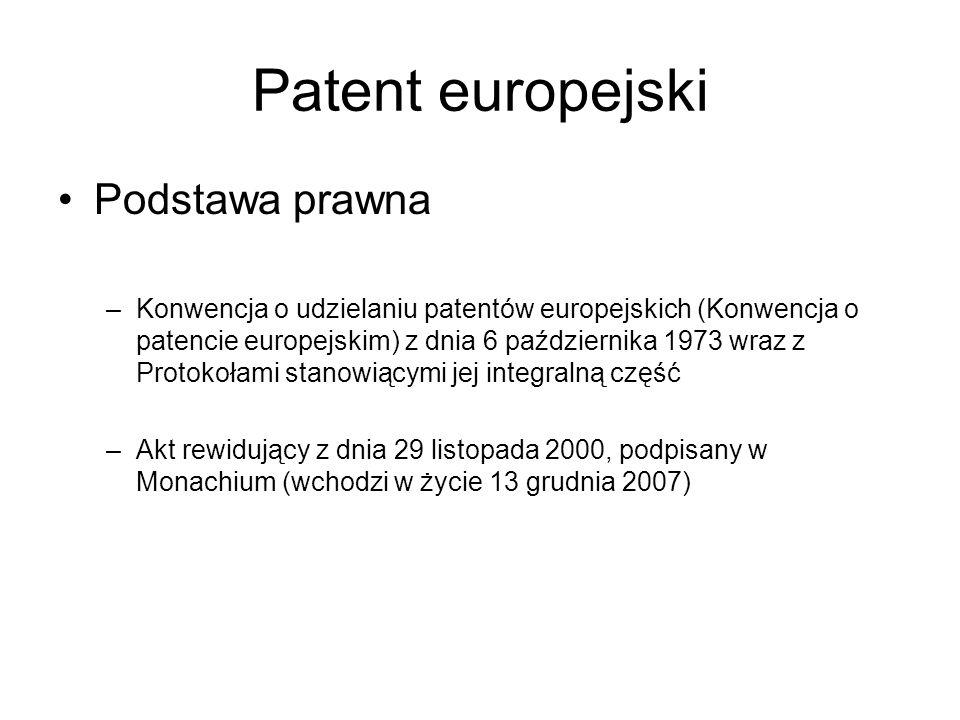 Patent europejski Podstawa prawna