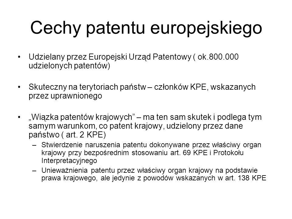 Cechy patentu europejskiego