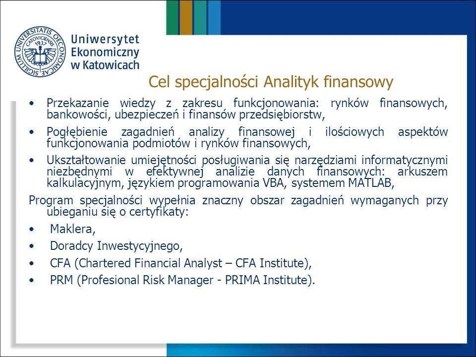 Cel specjalności Analityk finansowy