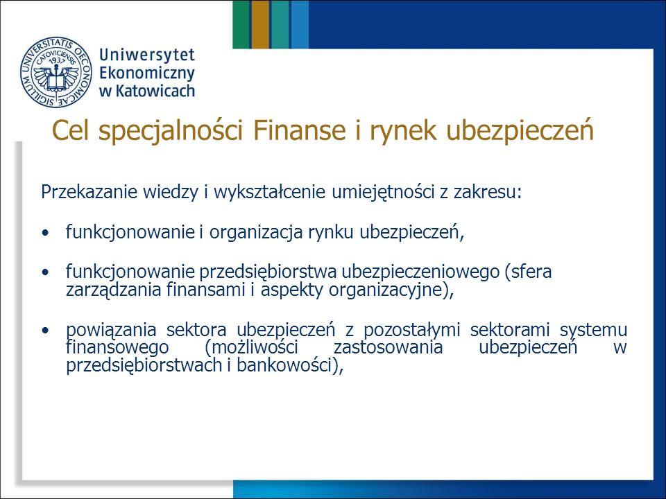 Cel specjalności Finanse i rynek ubezpieczeń