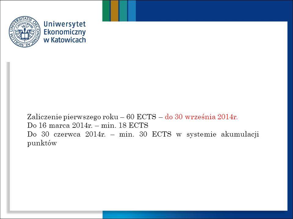 Zaliczenie pierwszego roku – 60 ECTS – do 30 września 2014r.