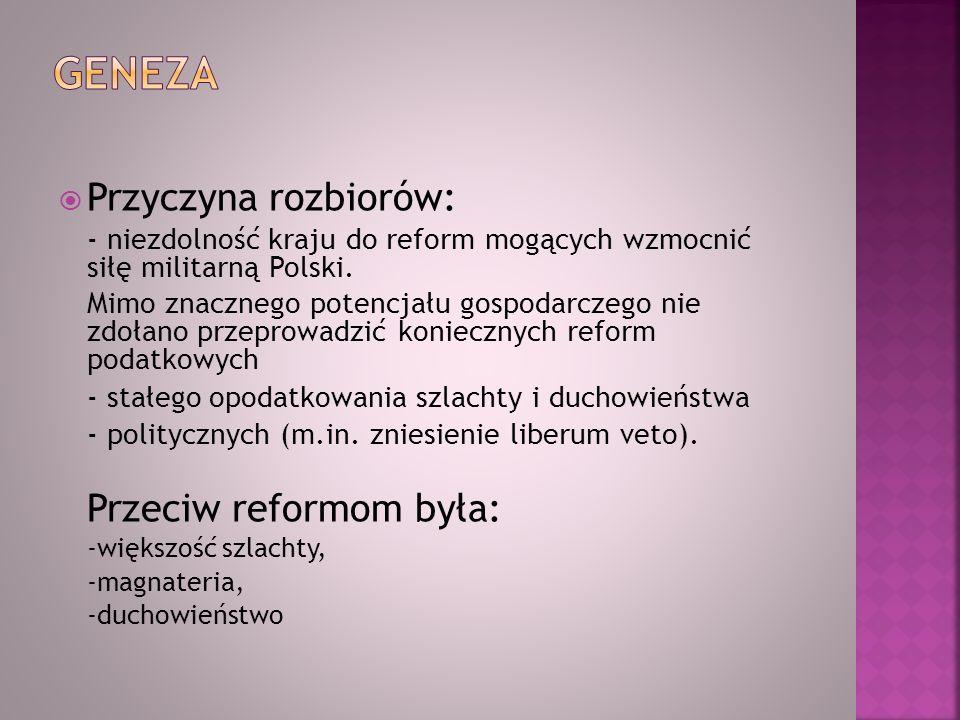 Geneza Przyczyna rozbiorów: