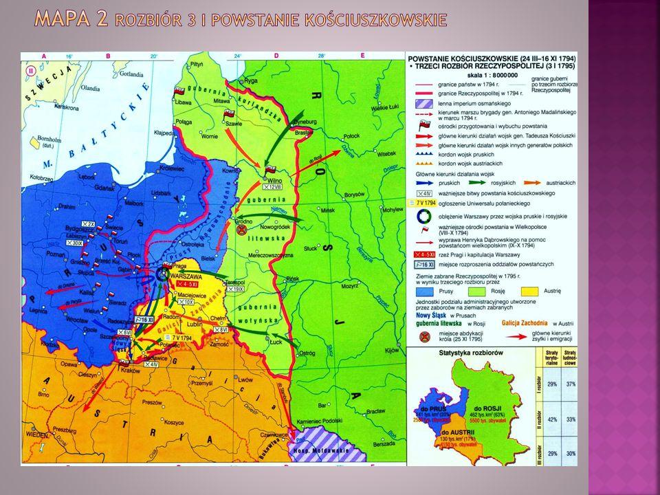 Mapa 2 Rozbiór 3 i powstanie kościuszkowskie