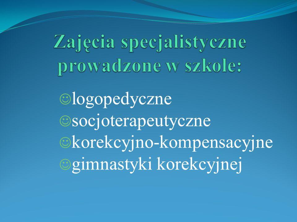 Zajęcia specjalistyczne prowadzone w szkole: