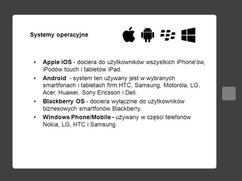 Systemy operacyjne Apple iOS - dociera do użytkowników wszystkich iPhone ów, iPodów touch i tabletów iPad.