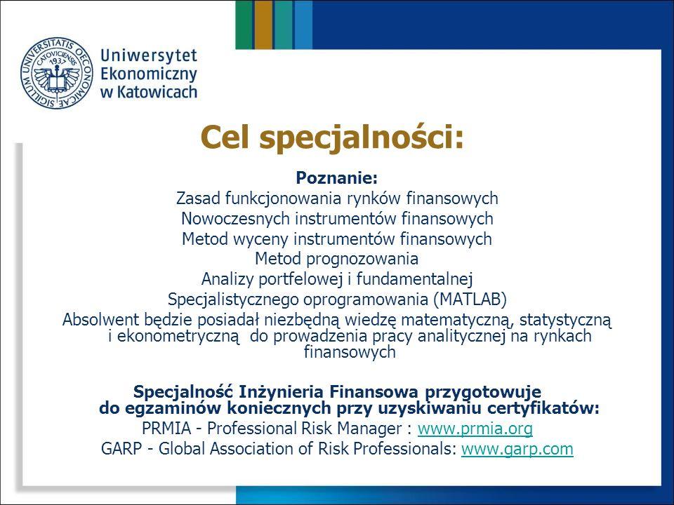 Cel specjalności: Poznanie: Zasad funkcjonowania rynków finansowych