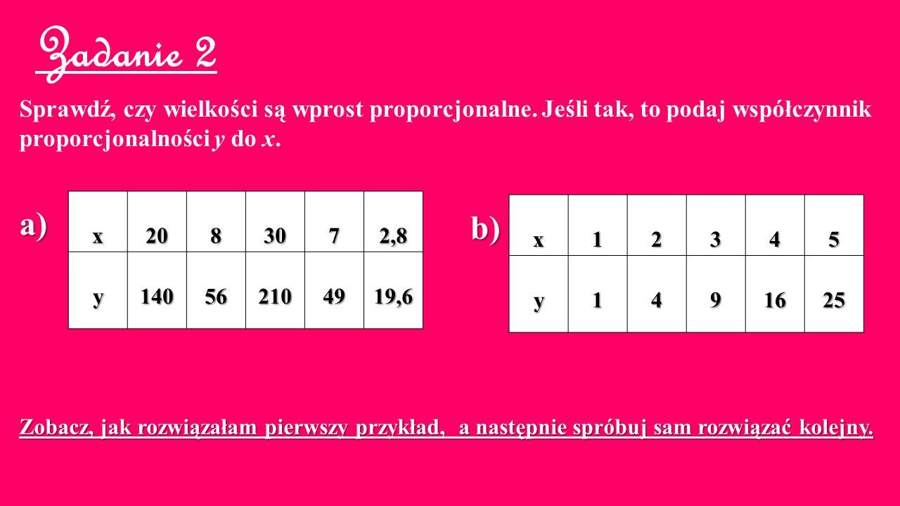 Zadanie 2 Sprawdź, czy wielkości są wprost proporcjonalne. Jeśli tak, to podaj współczynnik. proporcjonalności y do x.