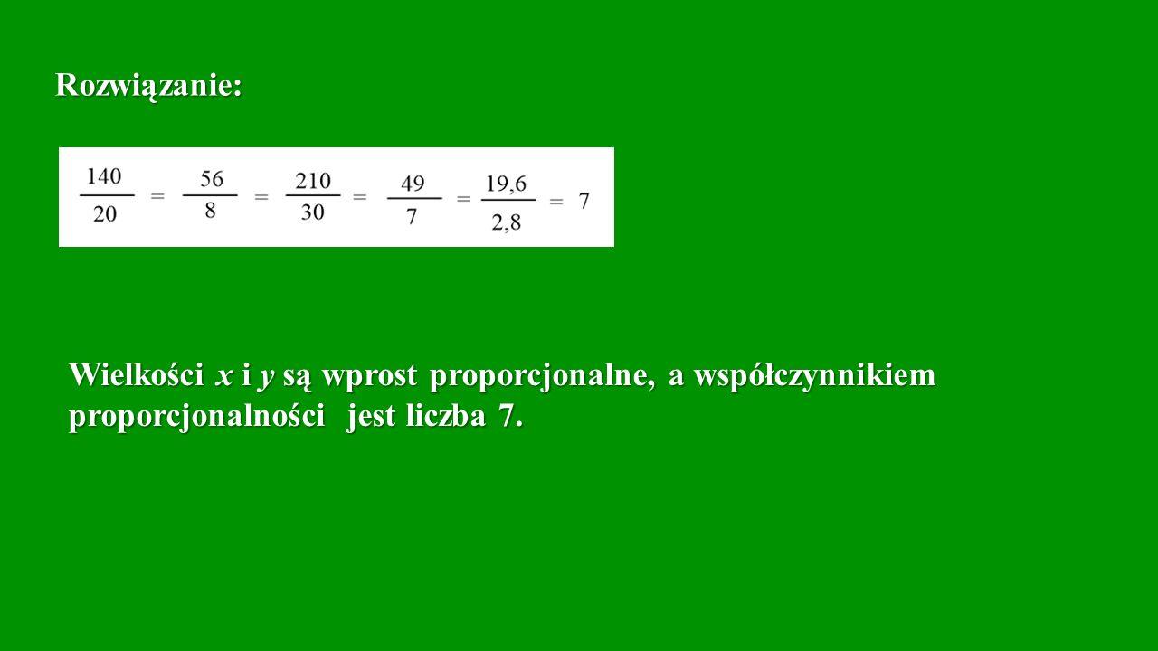 Rozwiązanie: Wielkości x i y są wprost proporcjonalne, a współczynnikiem.
