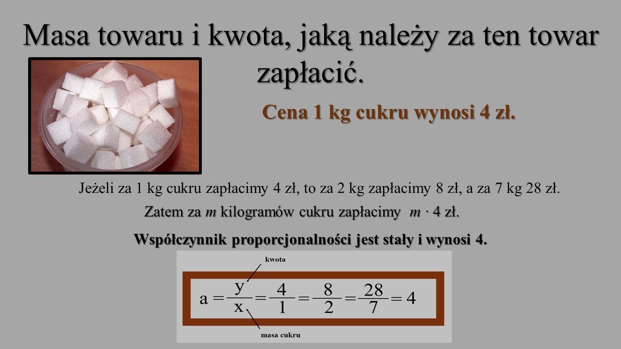 Współczynnik proporcjonalności jest stały i wynosi 4.