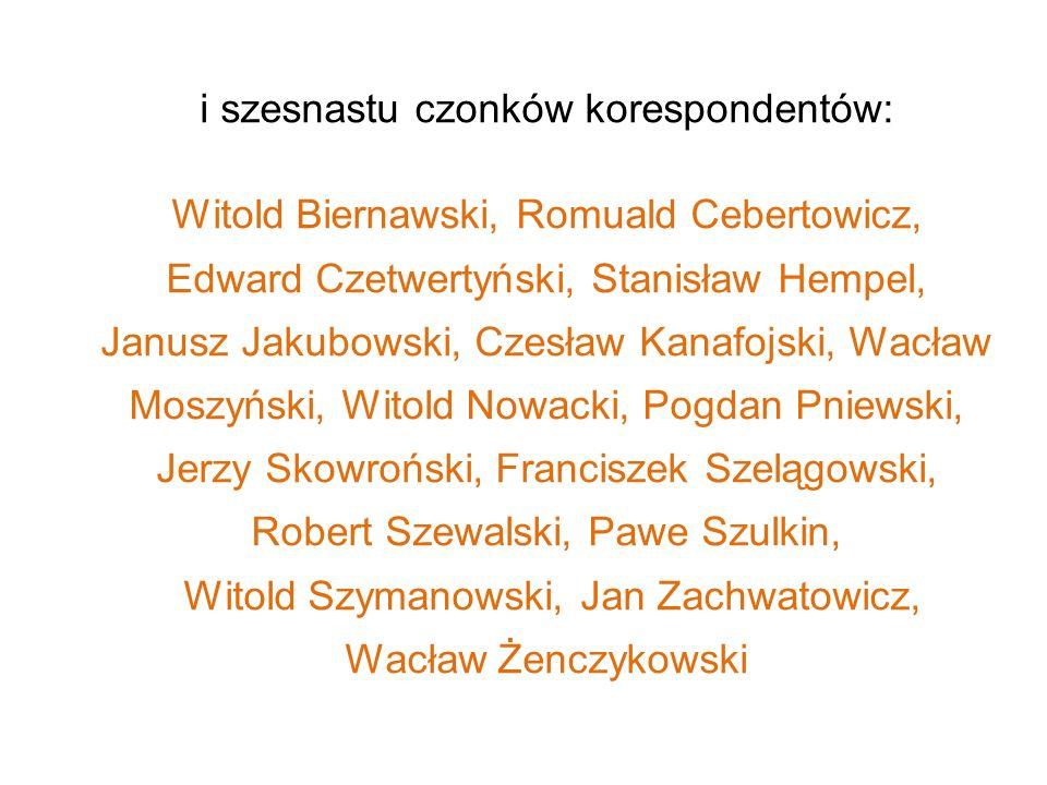 i szesnastu czonków korespondentów: