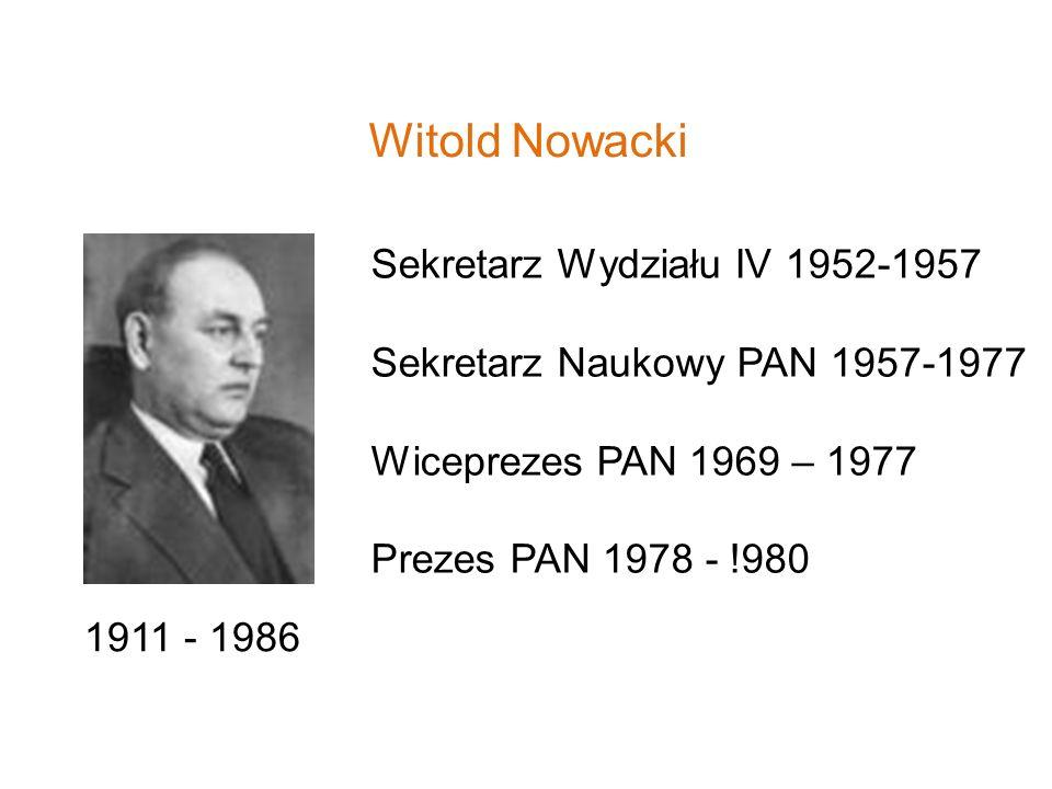 Witold Nowacki Sekretarz Wydziału IV 1952-1957