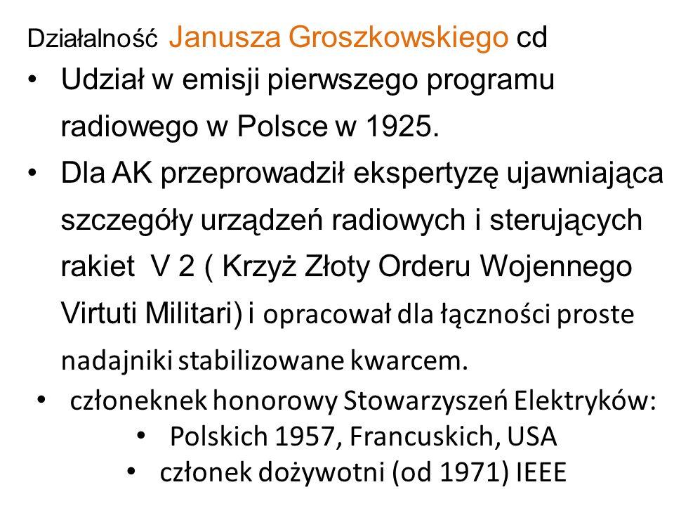 Udział w emisji pierwszego programu radiowego w Polsce w 1925.