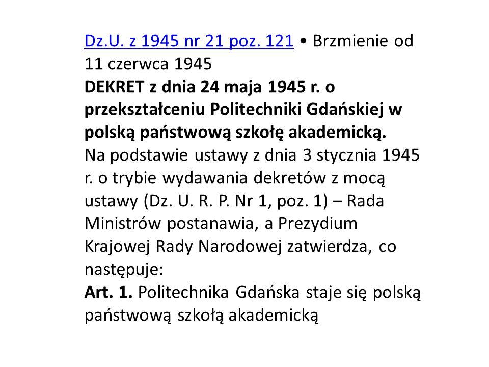 Dz.U. z 1945 nr 21 poz. 121 • Brzmienie od 11 czerwca 1945