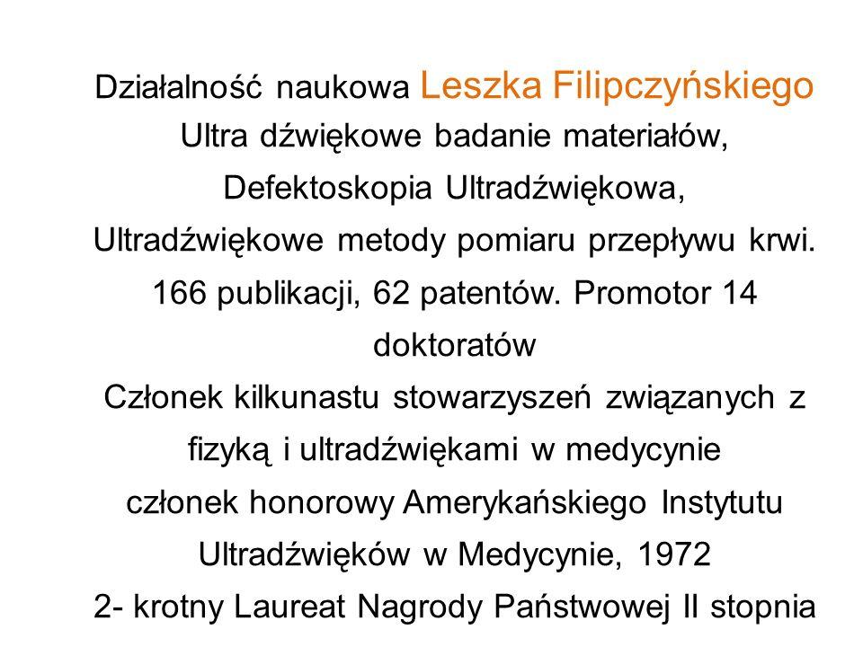 Działalność naukowa Leszka Filipczyńskiego