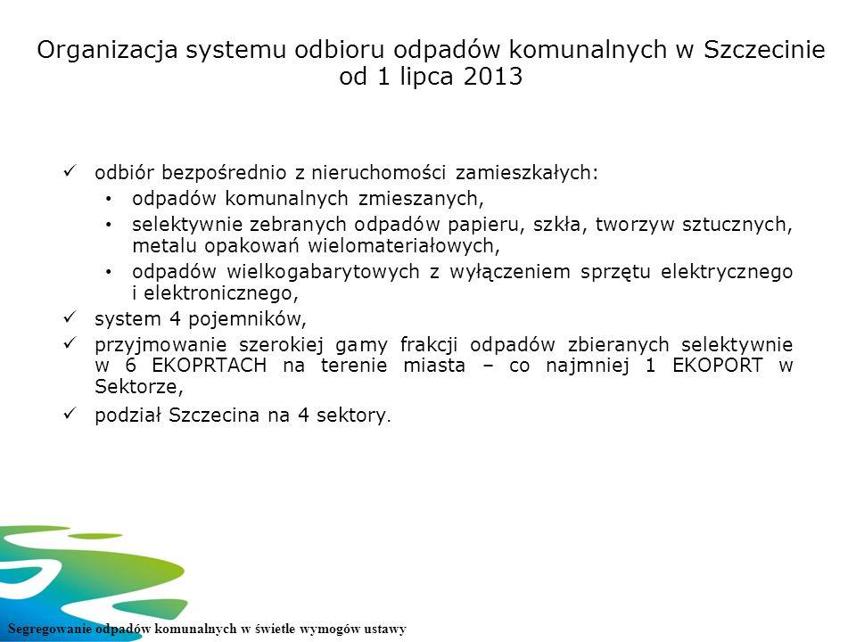 Organizacja systemu odbioru odpadów komunalnych w Szczecinie od 1 lipca 2013