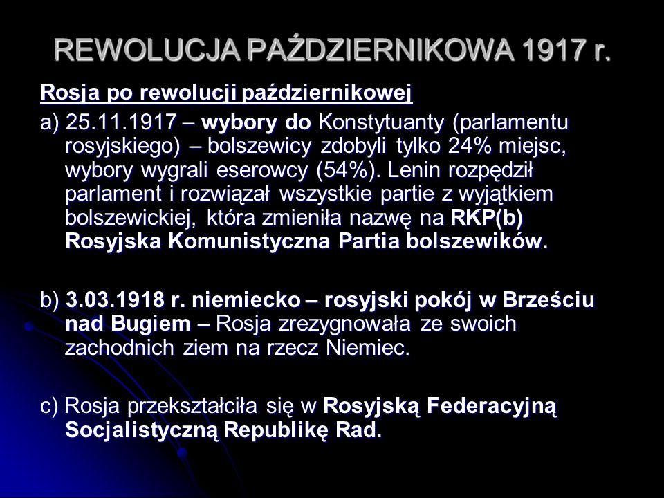 REWOLUCJA PAŹDZIERNIKOWA 1917 r.