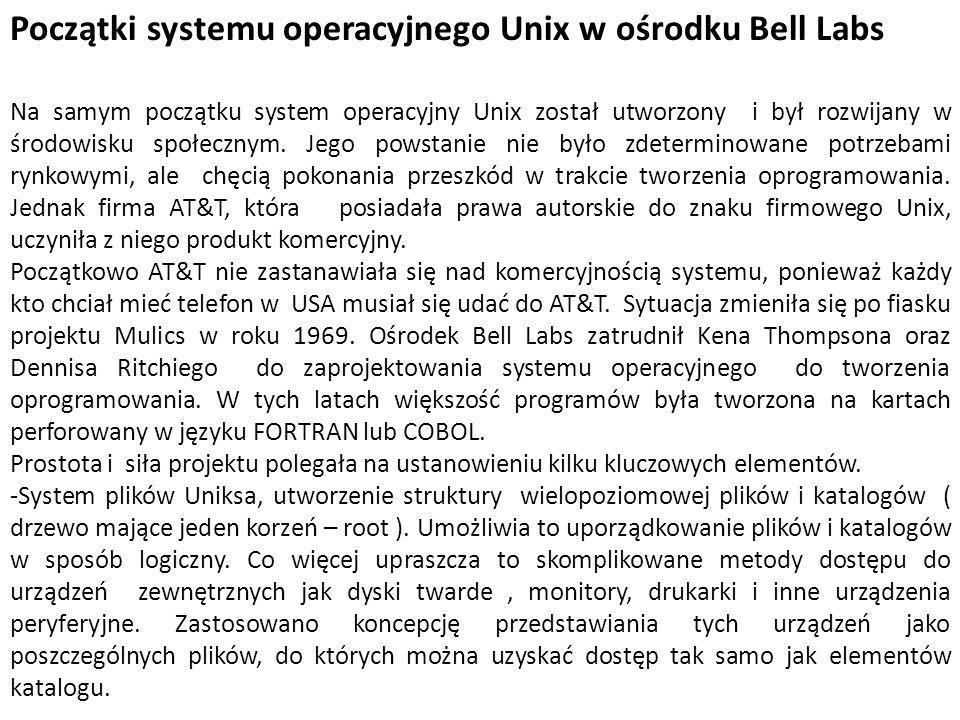 Początki systemu operacyjnego Unix w ośrodku Bell Labs