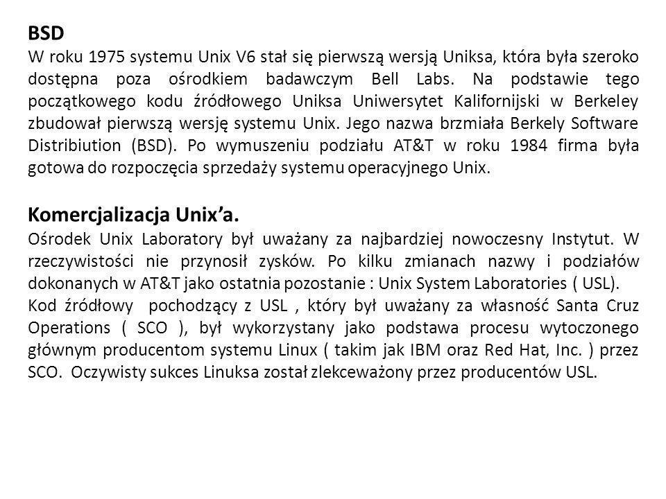 Komercjalizacja Unix'a.