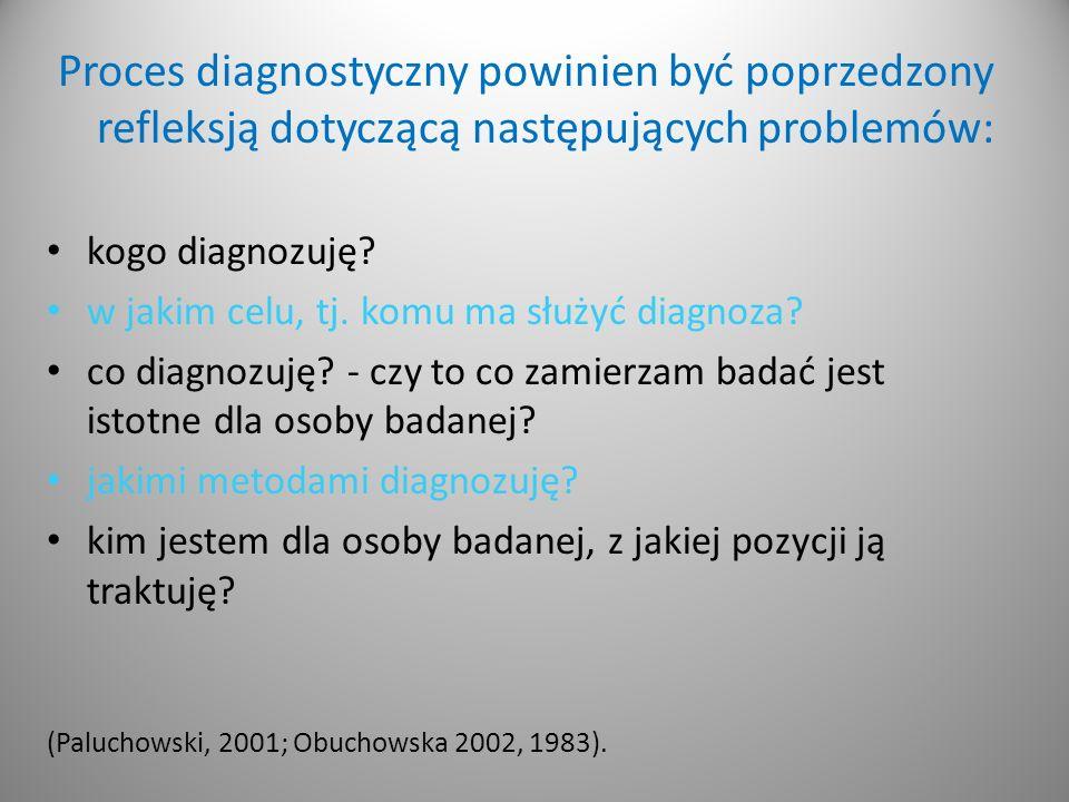 Proces diagnostyczny powinien być poprzedzony refleksją dotyczącą następujących problemów: