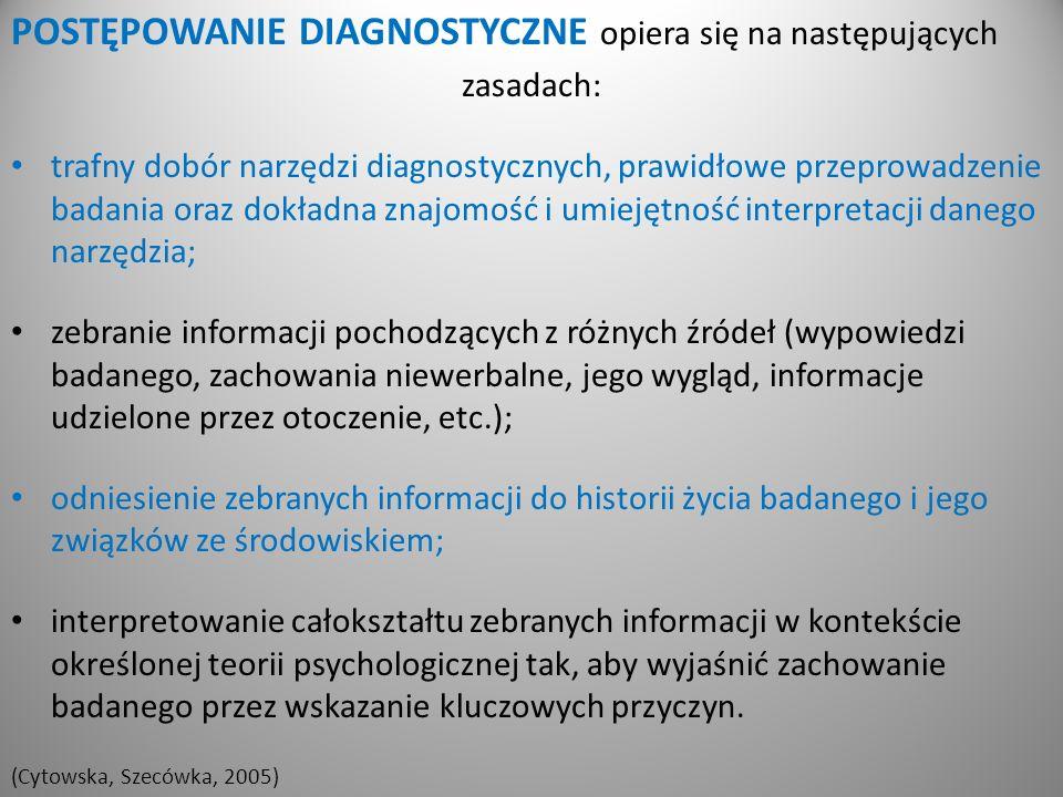 POSTĘPOWANIE DIAGNOSTYCZNE opiera się na następujących