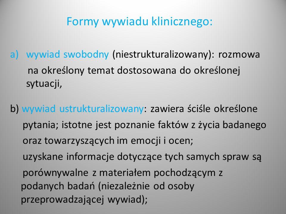 Formy wywiadu klinicznego: