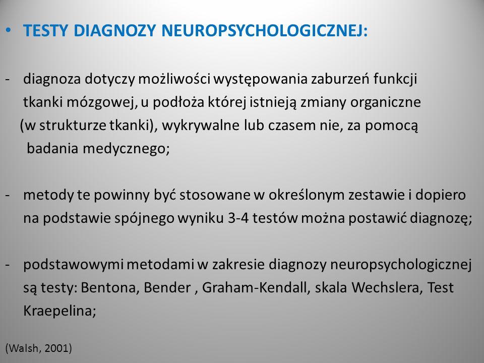 TESTY DIAGNOZY NEUROPSYCHOLOGICZNEJ: