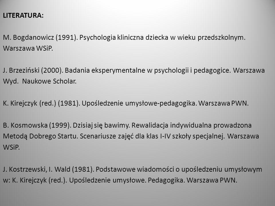 LITERATURA: M. Bogdanowicz (1991)