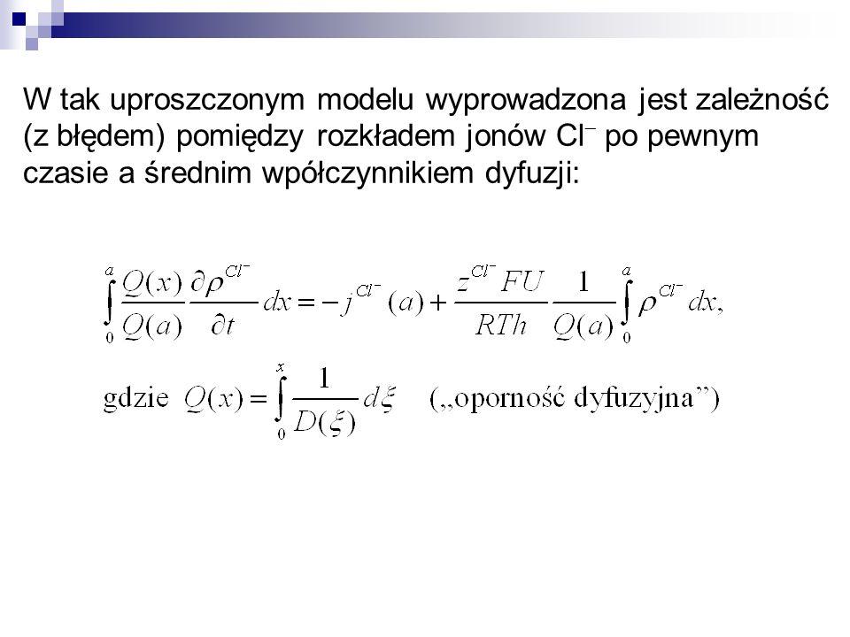 W tak uproszczonym modelu wyprowadzona jest zależność (z błędem) pomiędzy rozkładem jonów Cl po pewnym czasie a średnim wpółczynnikiem dyfuzji: