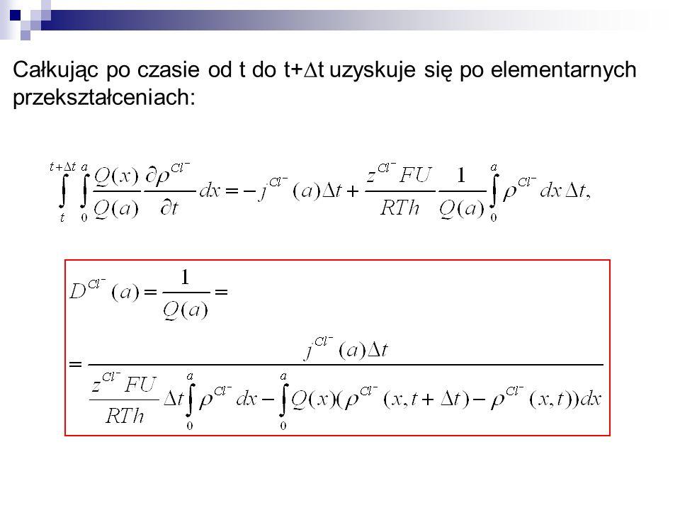 Całkując po czasie od t do t+t uzyskuje się po elementarnych przekształceniach: