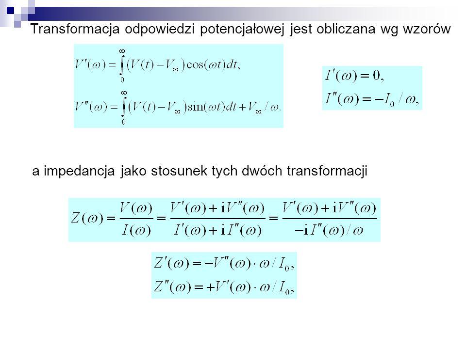 Transformacja odpowiedzi potencjałowej jest obliczana wg wzorów