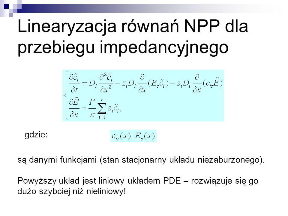 Linearyzacja równań NPP dla przebiegu impedancyjnego