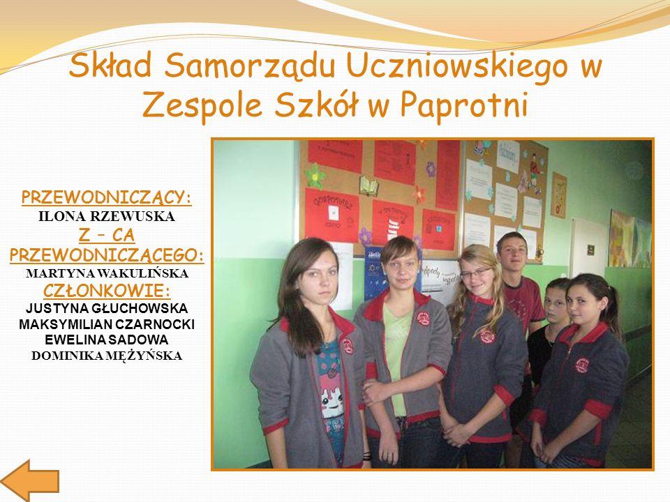 Skład Samorządu Uczniowskiego w Zespole Szkół w Paprotni