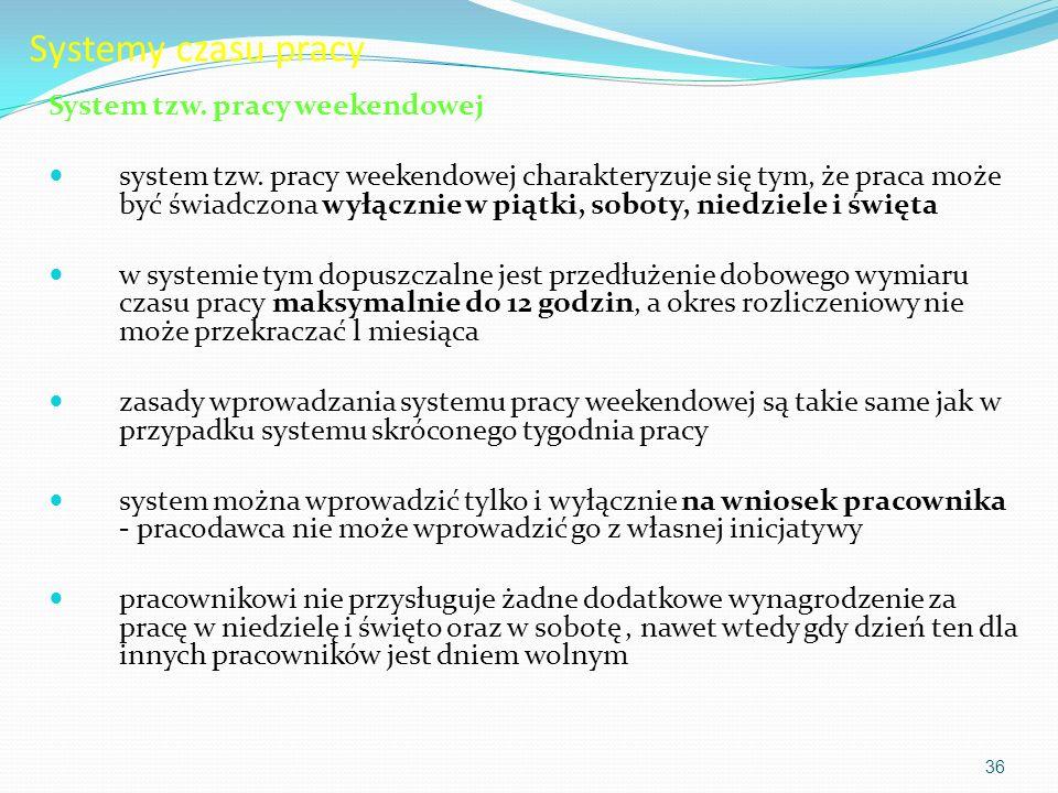 Systemy czasu pracy System tzw. pracy weekendowej
