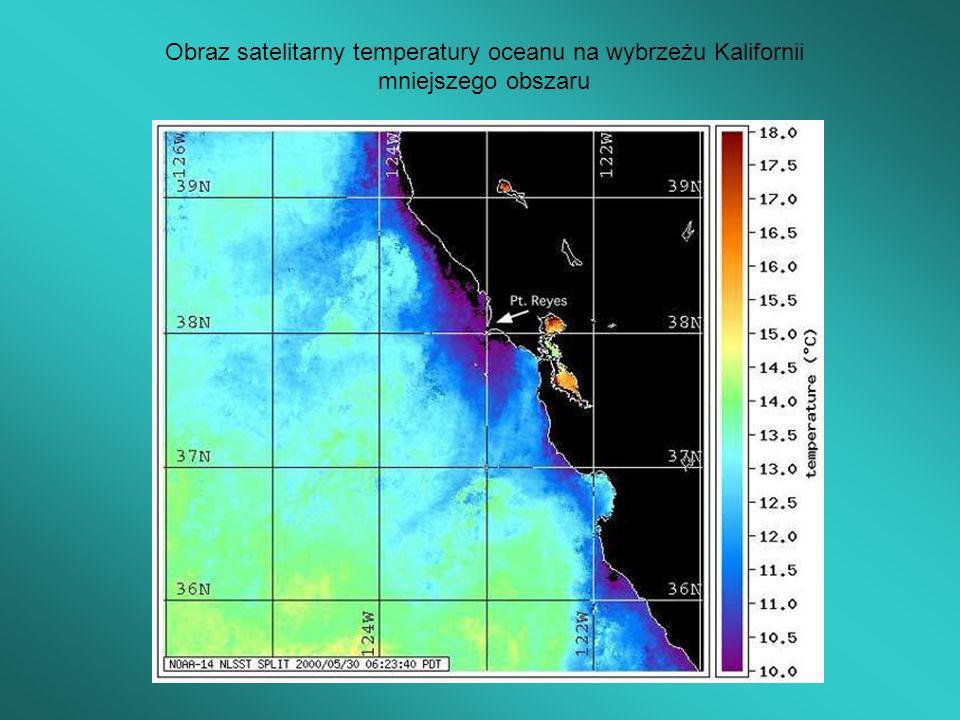 Obraz satelitarny temperatury oceanu na wybrzeżu Kalifornii mniejszego obszaru