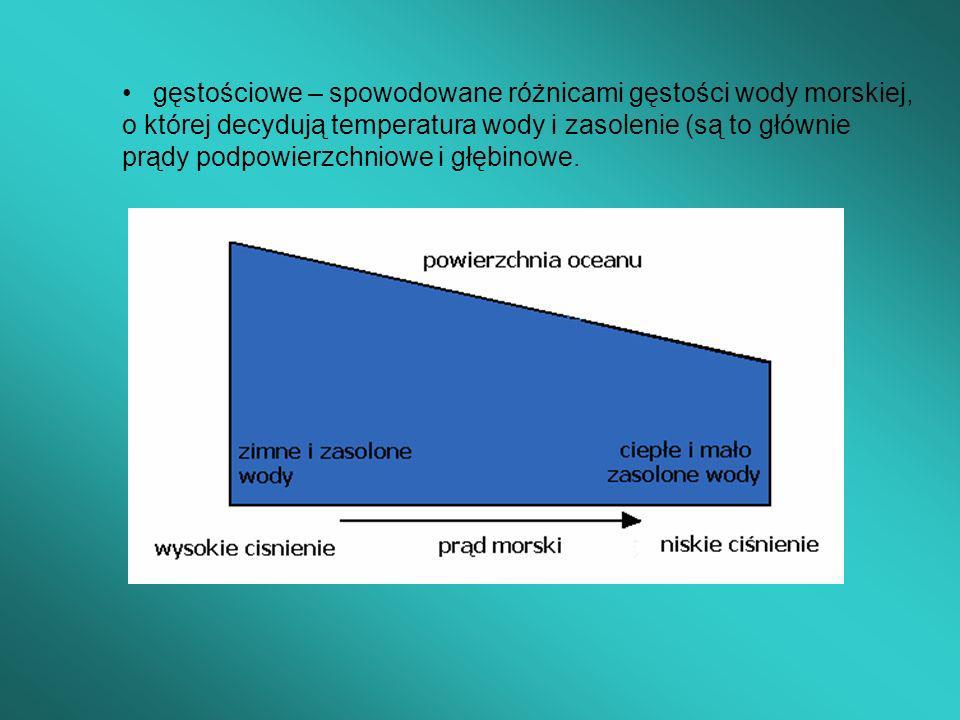 gęstościowe – spowodowane różnicami gęstości wody morskiej, o której decydują temperatura wody i zasolenie (są to głównie prądy podpowierzchniowe i głębinowe.
