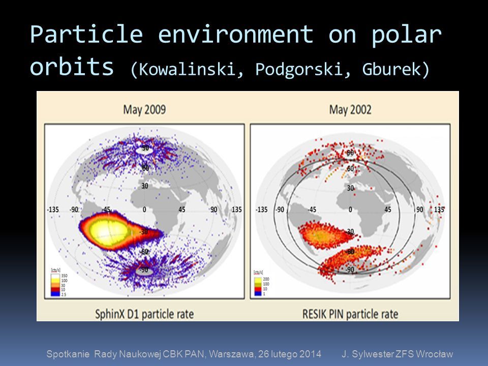 Particle environment on polar orbits (Kowalinski, Podgorski, Gburek)