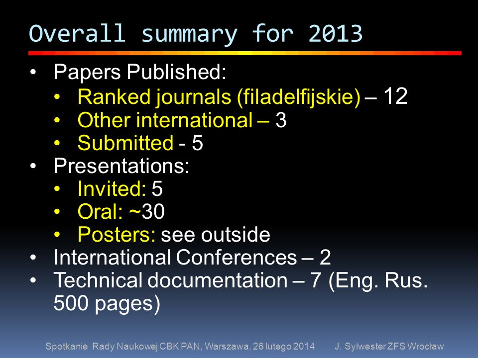 Overall summary for 2013 Papers Published: