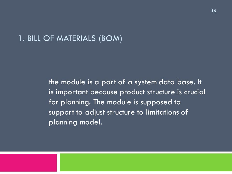 1. Bill of Materials (BoM)